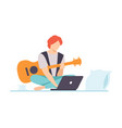 young man playing guitar guy learning guitar vector image vector image