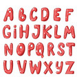 cute cartoon english red alphabet vector image