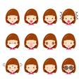 Cute girl emoticons set vector image