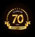 70 years anniversary celebration logotype golden