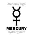 alchemy mercury hydrargyrum vector image vector image
