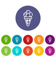 balls of ice cream in cone icon outline style vector image vector image