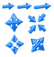 blue 3d combo arrows different directions vector image