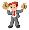 businessman holding bag of money vector image vector image
