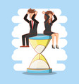 businesspeople avatars with work time elements vector image