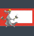 cartoon funny wolf worker with spatulas on the vector image