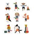 collection animals tourists with luggage funny vector image vector image