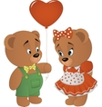 Cute bears with heart vector image vector image