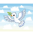 Cute white dove with a twig in its beak flies