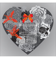 dark heart with cage vector image vector image