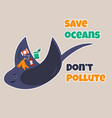eco poster stop pollution with skate vector image vector image
