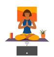 female cartoon character practicing hatha yoga vector image vector image