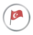 Flag of Turkey icon in cartoon style isolated on vector image vector image