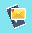 flat email notification on smartphone sms icon vector image vector image