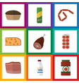 flat icon food set of beef meat spaghetti and vector image