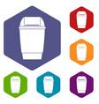 flip lid bin icons set hexagon vector image vector image