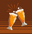 glasses of beers toast isolated icon vector image