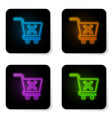 glowing neon remove shopping cart icon isolated vector image vector image