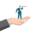 hand holding a businessman using telescope vector image vector image