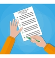 Hand holding customer survey paper vector image vector image