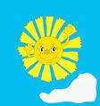 Happy sun cartoon vector image