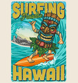 hawaii surfing vintage colorful poster vector image vector image