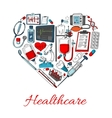Healthcare icons in shape of heart vector image vector image