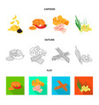 isolated object of taste and seasonin logo set of vector image vector image