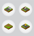 isometric way set of footer navigation turn and vector image vector image
