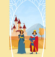 king and queen under a tree arbor vector image