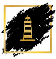 lighthouse sign golden icon vector image