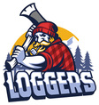 lumberjack mascot swinging the axe vector image