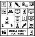 Mobile Health Icons Set Black vector image