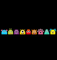 monster face head set line cute kawaii cartoon