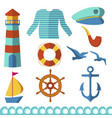 nautical elements wave ocean sea blue marine vector image vector image
