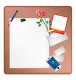 Pencil and Red Rose on A Blank Page with Envelope vector image vector image