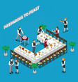 preparing to feast isometric composition vector image vector image