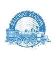 railway station logo design template vector image vector image