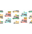 seamless pattern with street food trucks vector image vector image