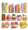 set different desserts vector image