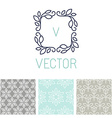 set floral border and seamless patterns vector image