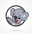 smiling happy cartoon koala in circle window vector image