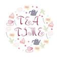 tea time symbols in circle form vector image vector image