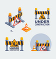 under construction logos set badges vector image vector image