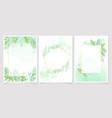 watercolor green leaf on green splash background vector image