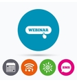 Webinar with hand pointer sign icon Web study vector image vector image