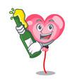with beer ballon heart mascot cartoon vector image
