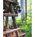 Wooden structure in sunny summer forest vector image vector image
