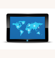 world map inteface in tablet computer vector image vector image