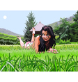 cartoon beautiful girl resting on the grass vector image